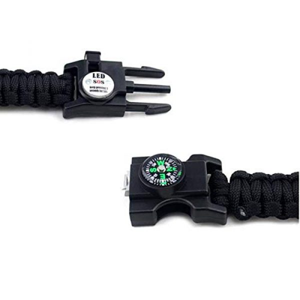 GOCTOS Survival Bracelet 3 GOCTOS Survival Bracelet Military Buckle Tool Adjustable Rope Accessories Kit, Fire Starter, Knife, Compass, LED Light,Whistle,for Fishing Hiking Travel Camp Survival kit