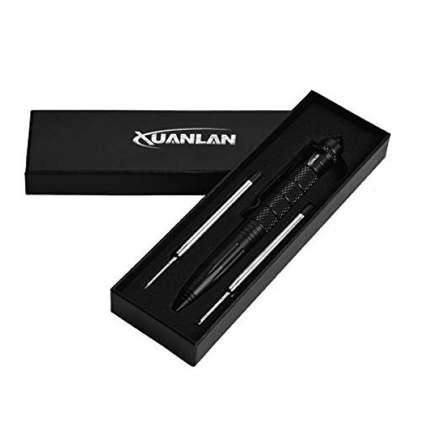 XUANLAN Survival Pen 7 XUANLAN Tactical Pen with 6 Ink Refill, Self Defense Pen with Emergency Glass Breaker Ballpoint, Aircraft Aluminum W/Tungsten Steel Tip EDC Emergency Kit, Survival Gear (1 Pack)