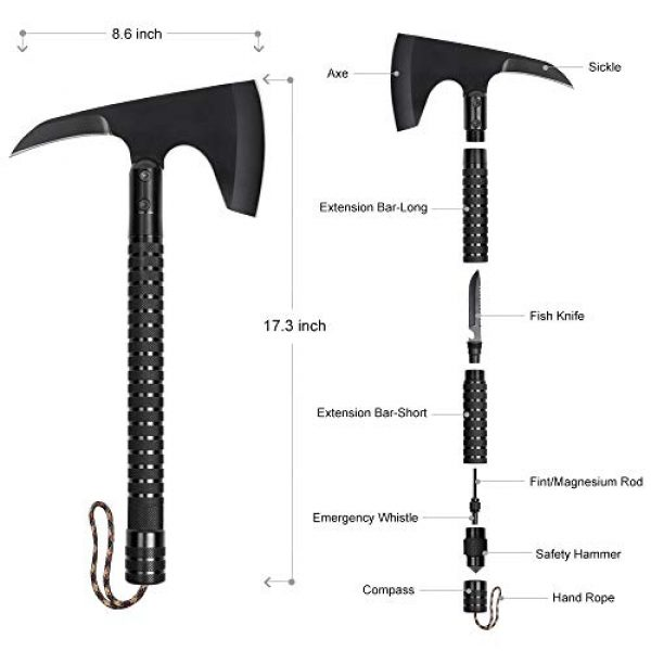 LIANTRAL Survival Kit 2 LIANTRAL Camping Axe, Folding Survival Camp Axe Kit with Sheath Tactical Hatchet for Outdoor Hiking Backpacking