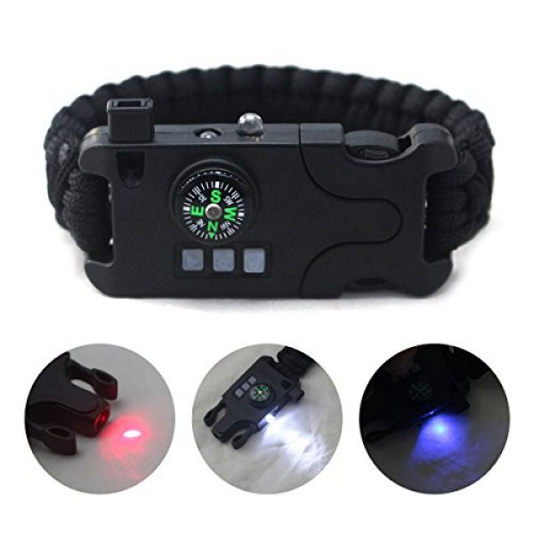 Webeauty Survival Bracelet 4 Webeauty Paracord Survival Bracelet Rechargeable - 1Pc/2Pcs Survival Gear Emergency Kit with LED Flashlight, Compass, Loud Whistle, Laser Infrared for Outdoor, Hiking, Camping and Travelling