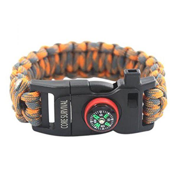 "Core Survival Survival Bracelet 5 Core Survival Paracord Survival Bracelet - Hiking Multi Tool, Emergency Whistle, Compass for Hiking, Camp Fire Starter 5-in1 Set (Orange/Grey, 10.5"" Large)"