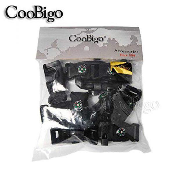 "CooBigo Survival Kit 6 10pcs Pack Black 5/8"" Compass Flint Scraper Fire Starter Whistle Buckle Plastic Paracord Bracelet Outdoor Camping Emergency Survival Travel Kits #FLC158-FWC(Black)"
