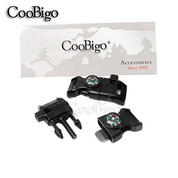 "CooBigo Survival Kit 2 10pcs Pack Black 5/8"" Compass Flint Scraper Fire Starter Whistle Buckle Plastic Paracord Bracelet Outdoor Camping Emergency Survival Travel Kits #FLC158-FWC(Black)"