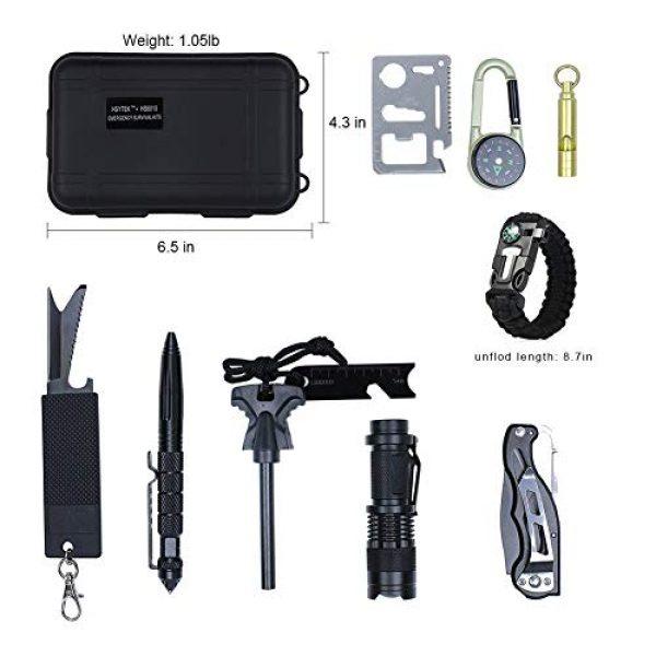 HSYTEK Survival Kit 2 HSYTEK Survival Gear Kit 11 in 1, Professional Outdoor Emergency Survival Kit with Tactical Pen Bracelet Temperature Compass Fire Starter Flashlight for Camping,Hiking,Travel or Adventures Necessary