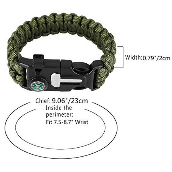 AOOTOOSPORT Survival Bracelet 3 AOOTOOSPORT Survival Paracord Bracelets, 10 Pack Kit Outdoor Survival Bracelet Camping Fishing Hiking Gear with Compass, Fire Starter, Whistle and Emergency Knife