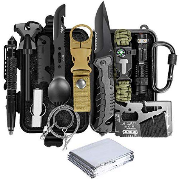 Lanqi Survival Kit 1 Lanqi Gifts for Men, Emergency Survival kit 14 in 1, Survival Gear, Tactical Survival Tool for Cars, Camping, Hiking, Hunting, Fishing (Survival kit 1)