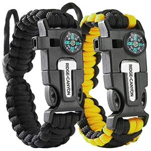 Ridge & Canyon  1 Ridge & Canyon Survival Bracelet (2 Pack) | The Ultimate 5-in-1 Paracord Bracelet | Value Multi-Pack Sold as Pair