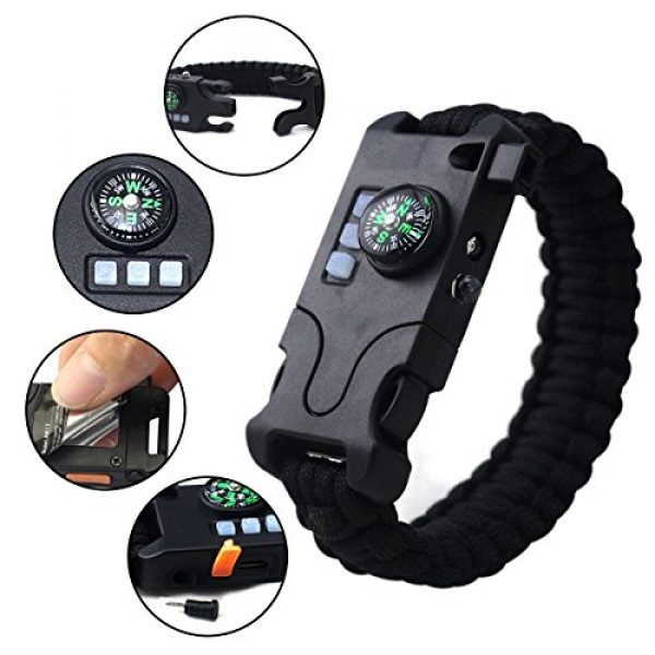Webeauty Survival Bracelet 2 Webeauty Paracord Survival Bracelet Rechargeable - 1Pc/2Pcs Survival Gear Emergency Kit with LED Flashlight, Compass, Loud Whistle, Laser Infrared for Outdoor, Hiking, Camping and Travelling