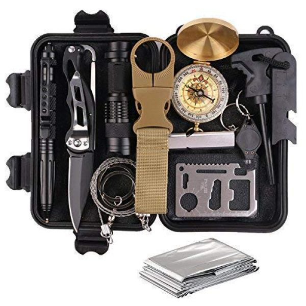 TRSCIND Survival Kit 1 Survival Gear Kits 13 in 1 Outdoor Emergency SOS Survive Tool for Wilderness/Trip/Cars/Hiking/Camping gear - Wire Saw, Emergency Blanket, Flashlight, Tactical Pen, Water Bottle Clip ect,