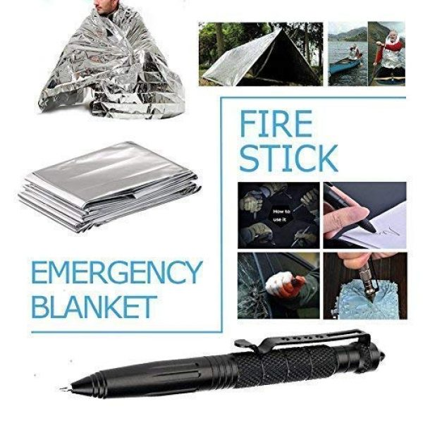 TRSCIND Survival Kit 5 Survival Gear Kits 13 in 1 Outdoor Emergency SOS Survive Tool for Wilderness/Trip/Cars/Hiking/Camping gear - Wire Saw, Emergency Blanket, Flashlight, Tactical Pen, Water Bottle Clip ect,