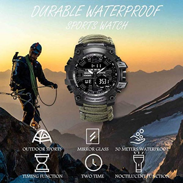 wejie Survival Kit 2 wejie Survival Bracelet Watch, Men and Women Digital Outdoor Sports Watch, 6-in-1 Waterproof Emergency Survival Watches with Paracord, Whistle, Fire Starter, Scraper, Compass and Survival Gear