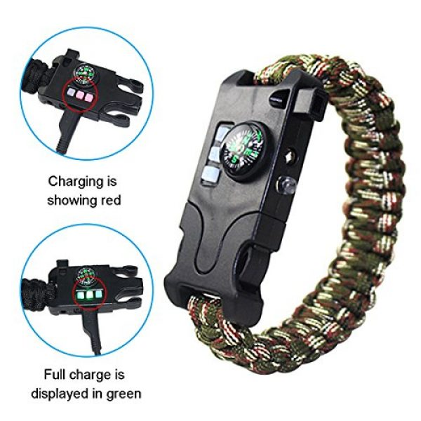 Webeauty Survival Bracelet 6 Webeauty Paracord Survival Bracelet Rechargeable - 1Pc/2Pcs Survival Gear Emergency Kit with LED Flashlight, Compass, Loud Whistle, Laser Infrared for Outdoor, Hiking, Camping and Travelling