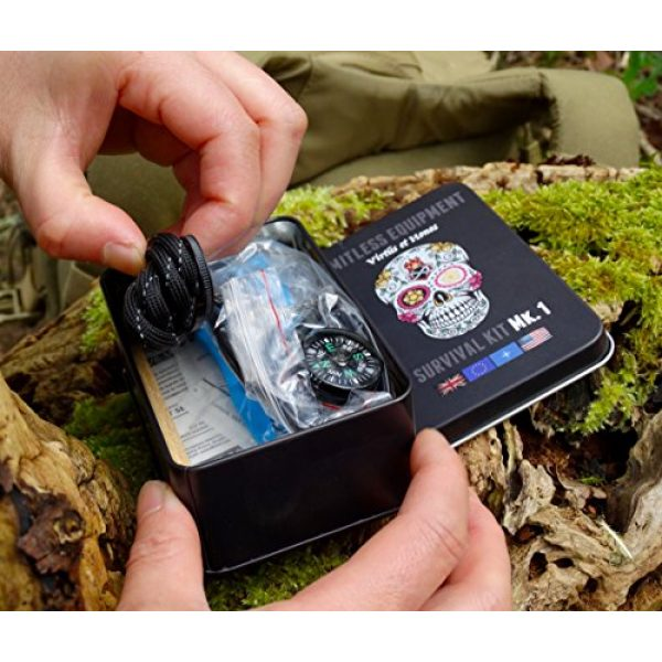 Limitless Equipment Survival Kit 7 Limitless Equipment Mark 1 Survival Kit: UK Made, Pocket Size, pro Level Gear. 40+ Items inc. Emergency LED, Fishing kit, fire Making, firecord and More