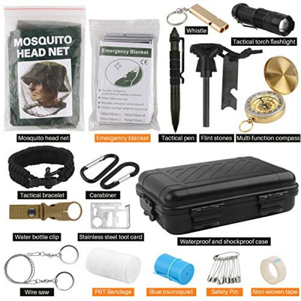 BlueStraw Survival Kit 7 Emergency Survival Kit, 17 in 1 Tactical Kit Outdoor Survival Gear Tool with Fire Starter Flashlight Whistle Blanket Compass Bracelet Tactical Pen for Camping Hiking Wilderness Adventure