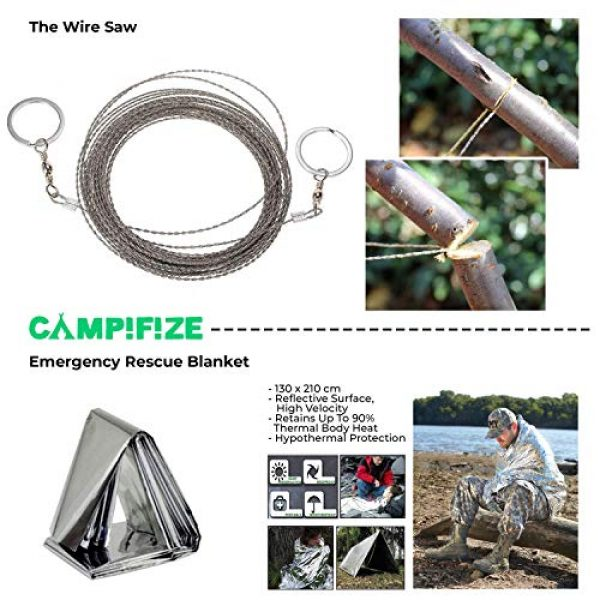 Campifize Survival Kit 6 Campifize Survival Tool Kit for Emergencies 13 in 1 Gear for Camping, Hiking, Climbing, Car - Birthday Gift - Present for Boyfriend - Husband or Wife - Mom or Dad - Father's Day