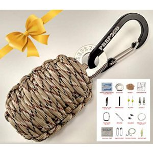 PREP2GO Survival Kit 1 Paracord Survival Grenade (24pc)--Moms Feel Safe! Your Teen Can Get Food Fire Shelter If Lost--Cool Military Grade Gadget Gifts for Camping Hiking Hunting Urban Wilderness Preppers Eagle Boy Scout