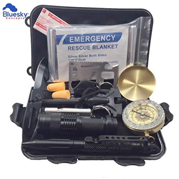 BlueSky Concepts Survival Kit 1 BlueSky Concepts -13 in 1 Emergency Survival Kit- Outdoor Survival Kit with Survival Bracelet, Knife, Fire Starter, Wood Cutter, Tactical Pen, Compass and More- for Camping, Hiking
