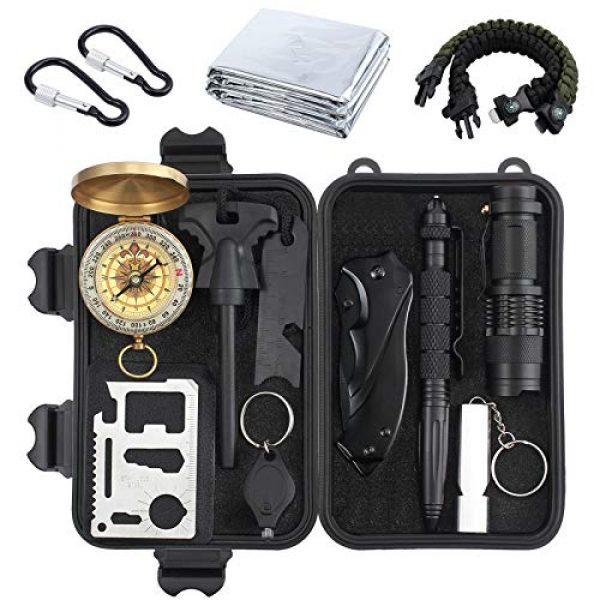 Justech Survival Kit 1 Justech Emergency Survival Kit 13 in 1, Mini Survival Gear Kit Outdoor Survival Tool with Thermal Blanket Carabiner Bracelet Fire Starter More for Adventure Outdoors Sports Traveling Hiking