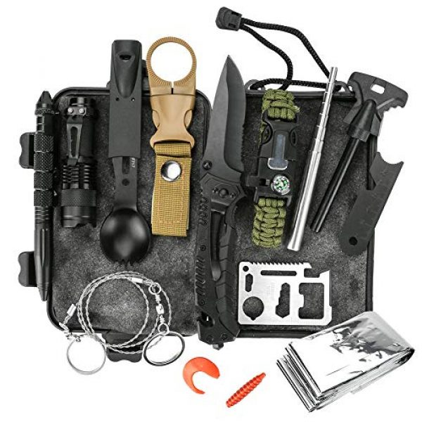 Welltop Survival Kit 1 Welltop 12 in 1 Outdoor Survival Kits Fishing Hunting Gear Hiking Camping Equipment Outdoor Adventure Gifts Ideas EDC Emergency Tools Cool & Unique Gadgets Gifts for Men Dad Husband Boyfriend