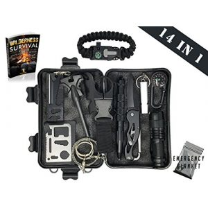 Kardana Survival Kit 1 Survival Kit 14 in 1 & eBook - Emergency Gear Kit for Outdoor / Camping / Hiking / Self Defense Weapons - Tactical Pen, Flashlight, Wire Saw, Emergency Blanket, Modern Compass, Special eBook Included