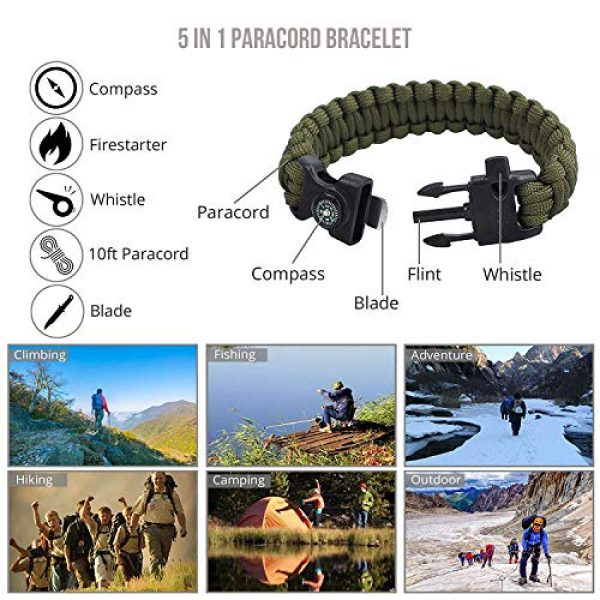 Justech Survival Kit 6 Justech Emergency Survival Kit 13 in 1, Mini Survival Gear Kit Outdoor Survival Tool with Thermal Blanket Carabiner Bracelet Fire Starter More for Adventure Outdoors Sports Traveling Hiking