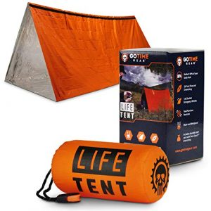 Go Time Gear Survival Kit 1 Go Time Gear Life Tent Emergency Survival Shelter - 2 Person Emergency Tent - Use As Survival Tent, Emergency Shelter, Tube Tent, Survival Tarp - Includes Survival Whistle & Paracord