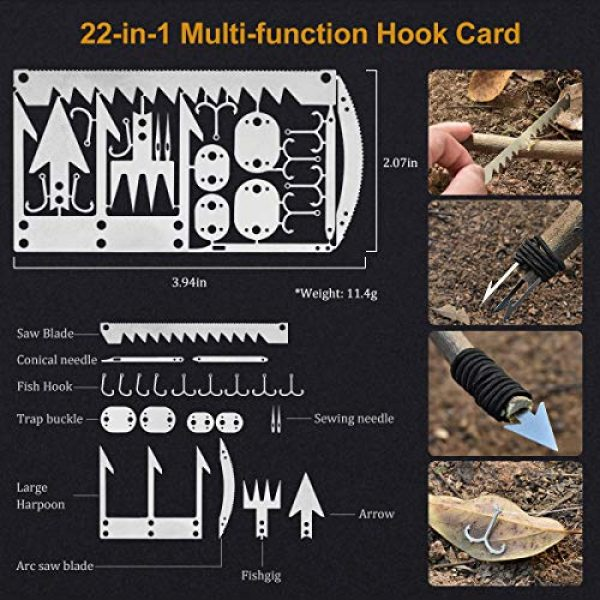 KITPIPI Survival Kit 3 KITPIPI Survival Gear Kit 27 Pieces Outdoor Survival Tool Emergency Camping Gear with Compass Flintstones Saber Card Styptic for Adventure Outdoors Sport Best Gift for Men Boys