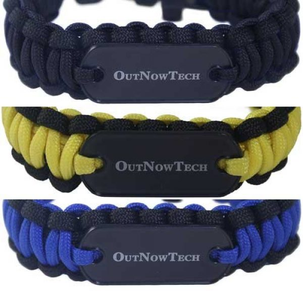 OutNowTech Survival Bracelet 6 OutNowTech Paracord Survival Bracelet with Whistle and Fire Starter - Easy to Carry Emergency Survival Gear Kit - Unravels to Provide 10ft of Paracord 550