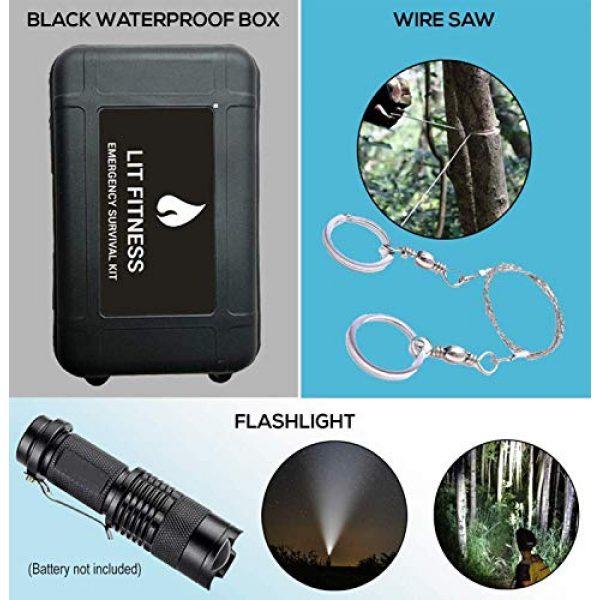 LIT FITNESS Survival Kit 3 LIT FITNESS Survival Kits 12-in-1 Emergency Survival Kit, Including Rock Climbing Gear, Emergency Blankets, Survival Bracelet, Tactical Pen, Tactical Flashlight, Gift Sets for Men