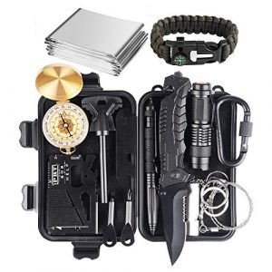 JINAGER Survival Kit 1 JINAGER Survival kit, Professional Emergency Survival Gear 15 in 1, Upgraded Tactical Defense Tool for Hiking Camping Climbing Adventures, Emergency Tool Gift for Men Boy Car