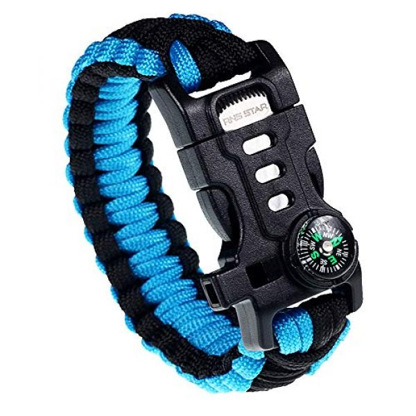 RNS STAR Survival Bracelet 1 RNS STAR Paracord Survival Bracelet with Paracord Rope, 5-in-1 Tactical Bracelet Fire Starter, Compass, Emergency Whistle & Small Knife for Hiking Traveling Camping Gear Kit