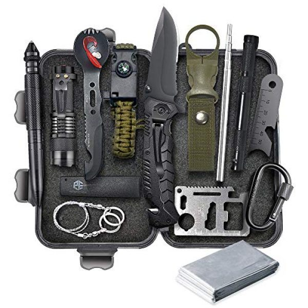 SUWIKEKE Survival Kit 1 SUWIKEKE Survival Kit, Upgraded 14 in 1 Survival Gear Tool, Professional Camping Gear for Hiking Climbing Travelling Wilderness Adventures