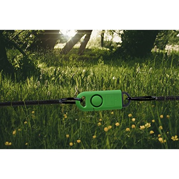 B A S U Survival Alarm 7 B A S U eAlarm+ with Tripwire Hook, Emergency Personal Alarm, Battery Included, Carabiner Included, Ranger Green