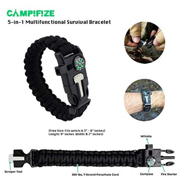Campifize Survival Kit 7 Campifize Survival Tool Kit for Emergencies 13 in 1 Gear for Camping, Hiking, Climbing, Car - Birthday Gift - Present for Boyfriend - Husband or Wife - Mom or Dad - Father's Day