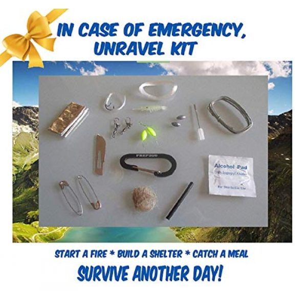 PREP2GO Survival Kit 3 Paracord Survival Grenade (24pc)--Moms Feel Safe! Your Teen Can Get Food Fire Shelter If Lost--Cool Military Grade Gadget Gifts for Camping Hiking Hunting Urban Wilderness Preppers Eagle Boy Scout