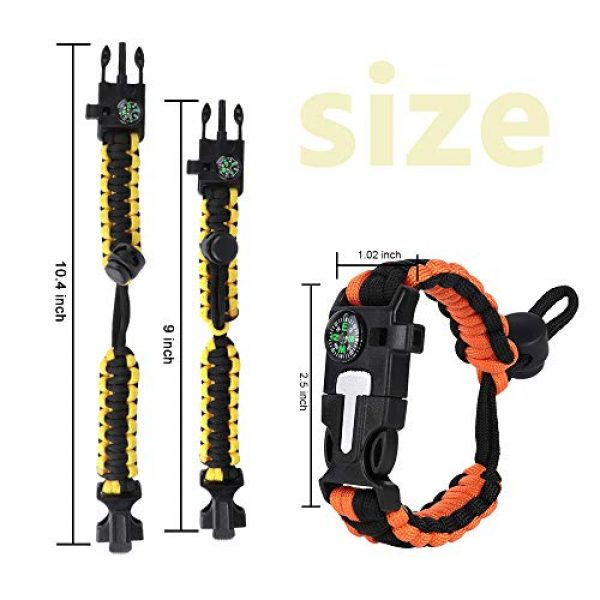 HNYYZL Survival Bracelet 2 HNYYZL 3 Pack Paracord Bracelet Survival- 6 in 1- Adjustable FHNYYZL 3 Pastener, Compass, Fire Starter, 7 Core Rope, Whistle and Emergency Knife, Compact & Portable for Someone Enjoy Camping, Outdoor