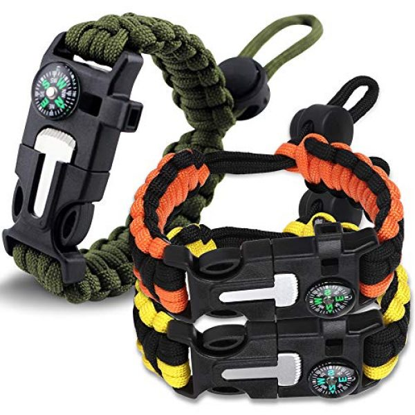 HNYYZL Survival Bracelet 1 HNYYZL 3 Pack Paracord Bracelet Survival- 6 in 1- Adjustable FHNYYZL 3 Pastener, Compass, Fire Starter, 7 Core Rope, Whistle and Emergency Knife, Compact & Portable for Someone Enjoy Camping, Outdoor