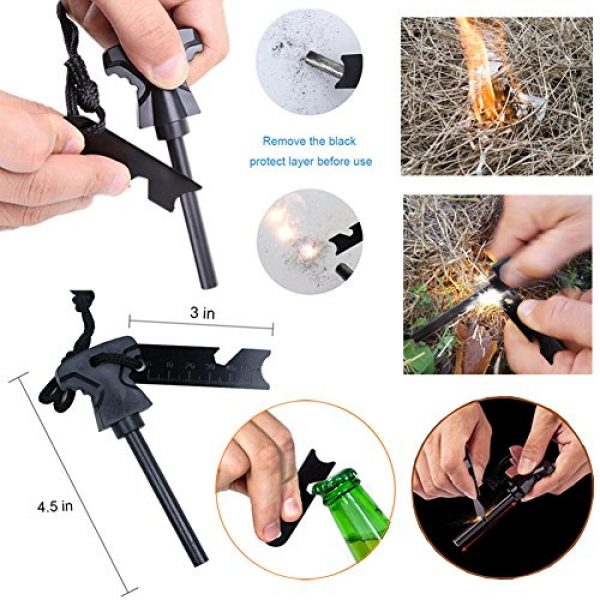 XUANLAN Survival Kit 6 XUANLAN Emergency Survival Kit 13 in 1, Outdoor Survival Gear Tool with Survival Bracelet, Fire Starter, Whistle, Wood Cutter, Water Bottle Clip, Tactical Pen (Survival Kit 3)