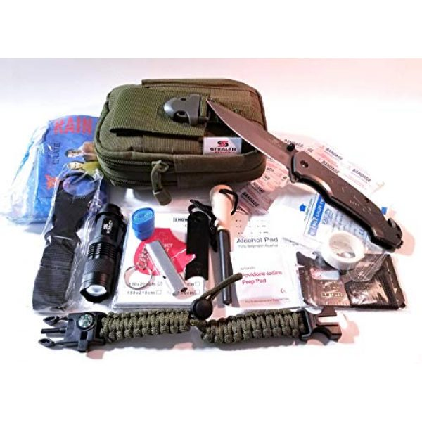 STEALTH SQUADS Survival Kit 7 STEALTH SQUADS 42 in 1 Survival Military Pouch KIT, Premium Tactical Pocket Knife, First AID KIT, EDC Multi-Tool USE for Camping, Hiking, Biking, Outdoor Emergency Safety Gears w/Bonus E-Book