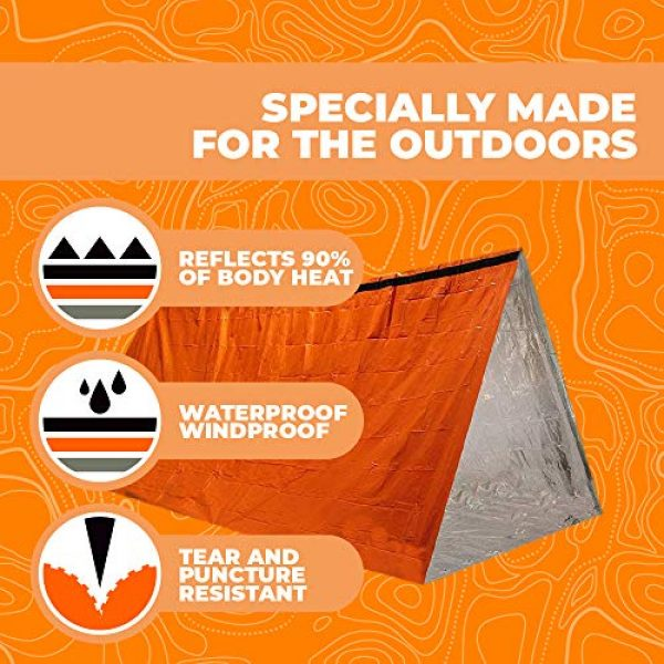 Survival of the Fittest Survival Shelter 4 Survival of the Fittest Emergency Tent - Portable Mylar Survival Tent for Outdoor Activities - Lightweight All-Weather Thermal Tube Tent for Camping - Emergency Survival Tent Waterproof Shelter for 2