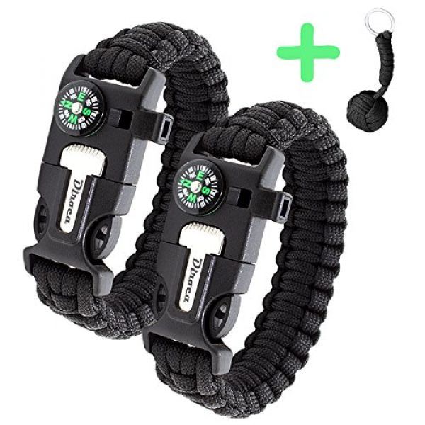 Diroca Survival Bracelet 1 Paracord Bracelet Survival Kit | Black 550 Parachute Cord | 5 in 1 Tactical Set w/ Compass, Fire Starter, Knife, Whistle & Rescue Rope | Outdoor Emergency Gear | Waterproof | 2Pcs + Monkey Keychain