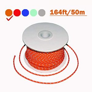 TOGRAND Survival Line 1 164 Feet Length, 4mm Diameter, Reflective Tent Guyline, 100% Nylon Material Cord, High Visibility Tent Rope for Rain Tarps, Tents, Hiking, Camping and Survival Kits(1 Pack)