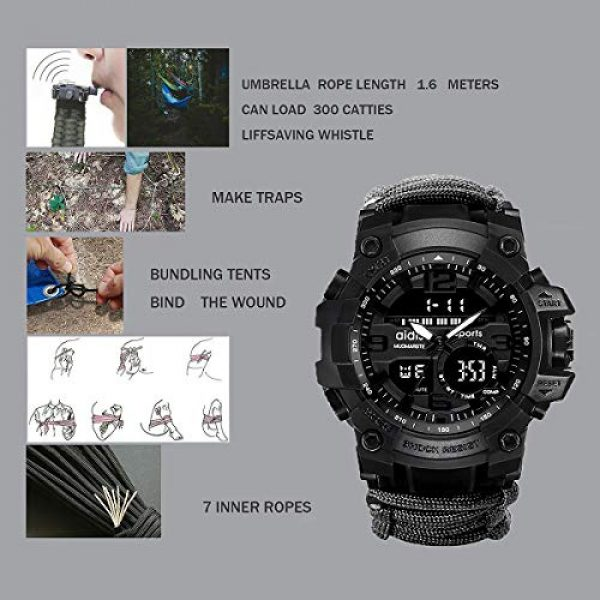 wejie Survival Kit 6 wejie Survival Bracelet Watch, Men and Women Digital Outdoor Sports Watch, 6-in-1 Waterproof Emergency Survival Watches with Paracord, Whistle, Fire Starter, Scraper, Compass and Survival Gear