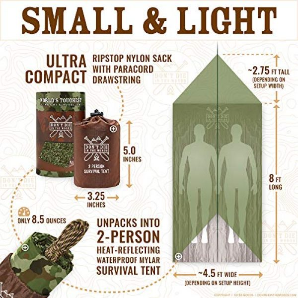 Don't Die In The Woods Survival Kit 5 Don't Die In The Woods World's Toughest Ultralight Survival Tent 2 Person Mylar Emergency Shelter Tube Tent + Paracord Year-Round All Weather Protection for Hiking, Camping, Outdoor Survival Kits
