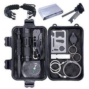 SCIMO Survival Kit 1 Emergency Survival Kit, 13 in 1 Outdoor Survival Gear, Lifesaving Tools with Military Compass, Saber Card, Whistle, for Travel Hike Field CampFather's Day, Boyfriend, Boy Scout's Best Gift