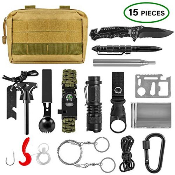 ACVCY Survival Kit 1 ACVCY Survival Gear Kit, 15 in 1 Emergency Survival Kit Professional Emergency Camping Gear Tactical Survival Kit for Camping Hiking Hunting with Wire Saw Emergency Blanket etc