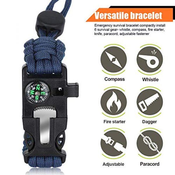 HNYYZL Survival Bracelet 3 HNYYZL 3 Pack Paracord Bracelet Survival- Adjustable Size, Compass, Fire Starter, Whistle and Emergency Knife, for survivalists, Hikers, Climbers, Campers(Black, Blue, Brown)