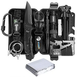 XUANLAN Survival Kit 1 XUANLAN Emergency Survival Kit 13 in 1, Outdoor Survival Gear Tool with Survival Bracelet, Fire Starter, Whistle, Wood Cutter, Water Bottle Clip, Tactical Pen (Survival Kit 1)