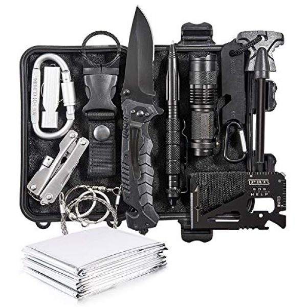 DLY Survival Kit 1 DLY Emergency Survival Kit 13 in 1 - Outdoor Survival Gear Tool for Wilderness/Trip/Cars/Hiking/Camping Gear - Emergency Blanket, Flashlight, ect (Emergency Survival Kit SET2)