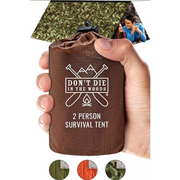Don't Die In The Woods Survival Kit 1 Don't Die In The Woods World's Toughest Ultralight Survival Tent 2 Person Mylar Emergency Shelter Tube Tent + Paracord Year-Round All Weather Protection for Hiking, Camping, Outdoor Survival Kits